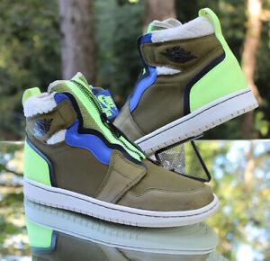 Nike Air Jordan 1 Retro High Zip Women's Size 9 Olive Green Black AV3723-300