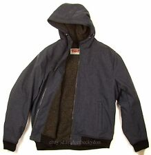 Levis Bomber Jacket New COLOR BLUE SIZE X-LARGE Knit With Hood / Sherpa Lined