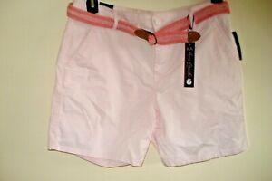 Ladies Shorts Pink  w Belt Sizes 10, 14,16 & 18 Slimming Gloria Vanderbilt