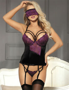 Sexy BABYDOLL Black and Purple Lingerie Lace  8 10 12 14 16 18 20 22 Basque