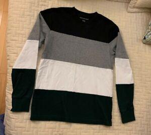 men's American Eagle black, gray, green, & white block long sleeve shirt size XS