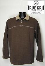 TRUE GRIT Men's 1/4 Zip Pullover Sweater Cotton Fleece Size XL