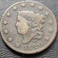 1820 Large Cent Coronet Head One Cent 1c Mid Grade  #28983