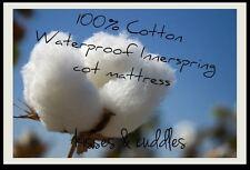 NEW 100% COTTON WATERPROOF INNERSPRING BABY COT MATTRESS 130 x 69 **SALE**