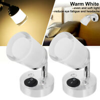 2x 12V LED Reading Light Wall Bedside Lamp Switch Adjustable Caravan Camper Van