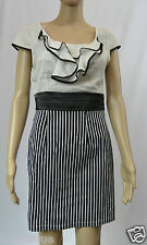 **STRIKING** Ruffled Waterfall Chiffon Dress Striped Skirt 10 S Work Office