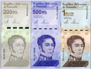 Venezuela Set 3 Pcs 200000 500000 1 Million Bolivares 2020/2021 P NEW UNC