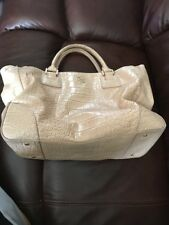 Tory Burch Saffiano Leather Large Robinson Double-Zip Beige Snakeskin Tote Bag