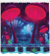 Vibrant Neon Magic Mushroom Graphic Enchanted Forest Theme Shower Curtain Set