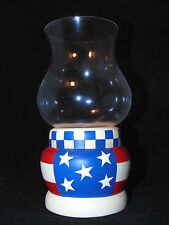 PartyLite Votive Candle Holder Hurricane Glass Stars Stripes Table Top Decor