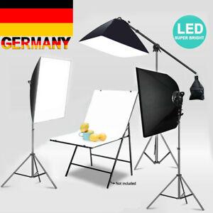 3x Fotostudio Studioleuchte Set Softbox Studiolampe Stativ Galgenstativ Pho V3H4