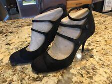Chanel Women's High Heel Shoes Pumps Black Size 38.5 CC Buttons 3 Strap