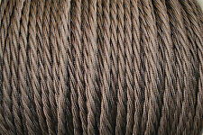 1 meter chocolate brown twisted vintage lamp cable flex wire 3 core Anglepoise