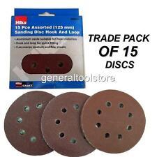 125mm Round Sander Sheets  15pc 60, 80, 120 Grit Velcro Sanding Disc Pads Hilka