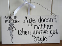 SHABBY CHIC VINTAGE STYLE RETRO WALL PLAQUE SIGN VOGUE FASHION GIFT CHRISTMAS