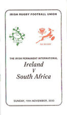 Ireland v South Africa 2000 Rugby Dinner Menu & Guest List