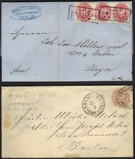 GERMANY PRUSSIA 1863 2 CLASSIC CVRS 1 W/1Sg STRIP OF 3 BERLIN TO STEYER LTR ENCL
