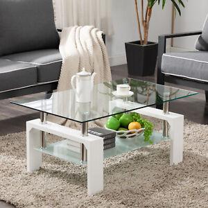 White Modern Side Coffee Table Glass Top Living Room Furniture Rectangle Shelf