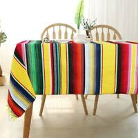 Colorful Mexican Serape Tablecloth Cotton Yoga Blanket Outdoor Table Cover Home
