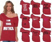 60 DESIGNS Mother's Day Off Shoulder Top T-shirt Mom's Gift RED-12