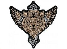 "(F22) WOLF ON CROSS with WINGS 4"" x 4"" iron on patch (4640) Biker Vest Patches"