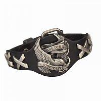 Harley Genuine Leather Bracelet Eagle Davidson Skull Style Black Biker Punk Men