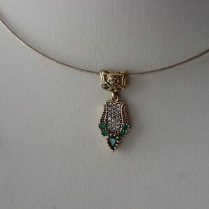 Beautiful 925 Silver Pendant With Emerald And Topaz 2.8Gr. 3.5 Long In Gift Box