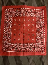 VTG Red White USA fast Color Cotton Biker BANDANA Handkerchief Rare western Red