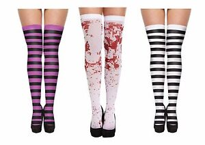 White Blood Stained Zombie Striped Stripey Stockings Hold Ups Candy Cane Black