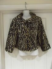Animal Print Coat UK Size 10 Faux Fur by Atmosphere in Browns/Black/Beige Short
