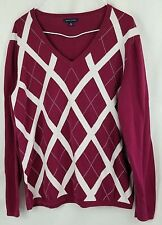 Tommy Hilfiger womens sweater top size XL pink white diamond long sleeve