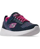 Skechers Little Girls Squad Stay-Put Closure Athletic Sneakers