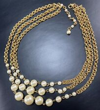 "AVON Signed Vintage Necklace Choker 15-18"" Gold Tone Faux Pearls Lot1"