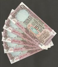 ~~ Rs.10/- R.N Malhotra ~ D38 x 5 Serial UNC Notes ~ Peacock Issue  ~~