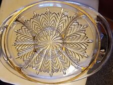 Vtg Glass Feather Design Handled Relish Tray 5 Compartments Gold Trim Oval