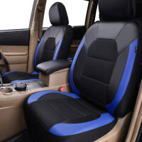 Universal 2 Front Car Seat Covers Black Blue Leather & Mesh for SUV Truck Sedan