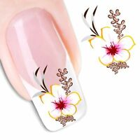 Nail Art Water Decals Stickers Transfers Deep Purple Flowers Gel Polish (1551)