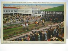 "1940 POSTCARD "" HORSES LEAVING PADDOCK CHURCHILL DOWNS , LOUISVILLE KY "" UNUSED"