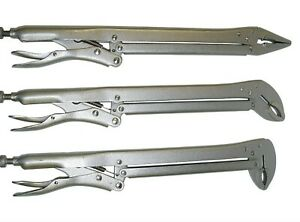 """VCT 15"""" EXTENDED REACH LOCKING PLIERS, Extra Long Straight 45 90 Deg. Bent Jaws"""