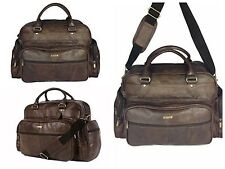 Men's Genuine Real Leather Holdall Travel Cabin Case Sports Duffel Gym Bag Brown