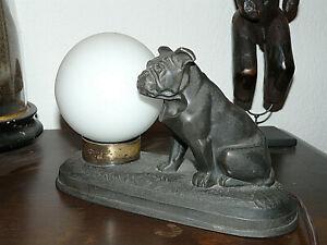 ANCIENNE LAMPE-VEILLEUSE DE TABLE-BOULEDOGUE-BULLDOG-CARLIN-REGULE-ART DECO-1930