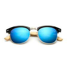 Vintage Retro Blue Sunglasses Bamboo Mens Summer Wooden Bamboo Frame (INT)