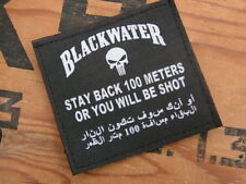 "SNAKE PATCH - "" STAY BACK 100 meters BLACKWATER "" Noir MERCENAIRE mercenary US"