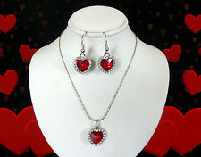 RED CRYSTAL HEART SILVER NECKLACE PENDANT EARRINGS SET~MOTHERS DAY GIFT FOR MOM