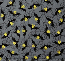 Bite Me Halloween Bats Minions Gray Grey Toss 100% cotton fabric by the yard