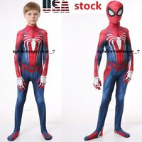 US! Kids PS4 Spider-Man Cosplay Costumes Halloween BodySuit with Movable Mask