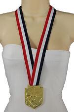Women Long Fabric USA Flag Hip Hop Fashion Necklace Gold Statue Lady Liberty NYC