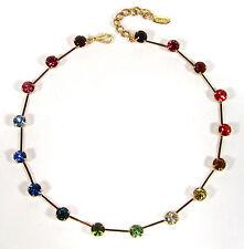 Gelbgold beschichtete runde Modeschmuck-Halsketten & -Anhänger aus Strass