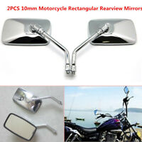 2PCS Chrome Motorcycle Rectangular Rearview Mirrors Clear Glass Adjusted Mirrors