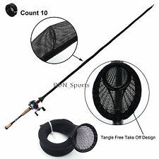 Lot 10 Tangle Free Casting Fishing Rod Sleeve Sock Jacket Pole Cover B